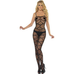 Zwarte geweven Bodystocking 20853