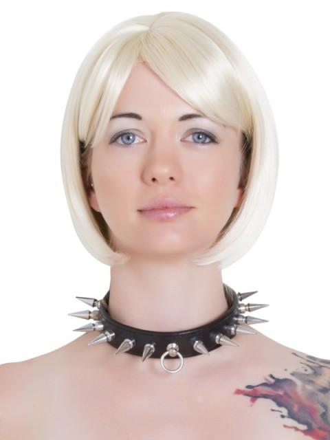 Lederen collar met spikes L2604.BLK